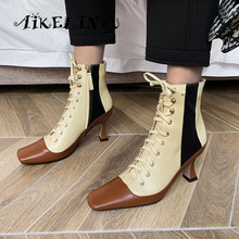 AIKELINYU Luxury Designer Newest Women Cow Leather Smoking Boots Lace Up Mixed Colors Autumn Fashion Strange High Heels