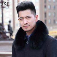JKP 2019 Fox Fur Collar for Men Real Fur Scarf Fashion Winter Warm Scarves Thicken Natural Fox Fur Shawl New Luxury Collar