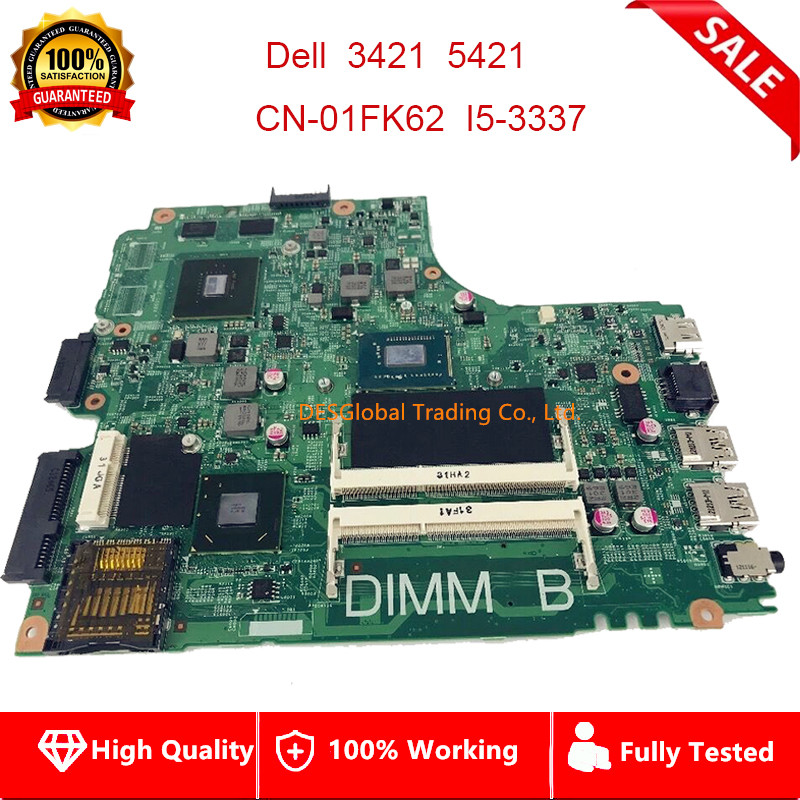 For Dell Inspiron 2421 3421 5421 Laptop Motherboard CN-01FK62 GT730/2G I5-3337 Mainboard 12204-1 DNE40-CR PWB:5J8Y4 Fully Tested