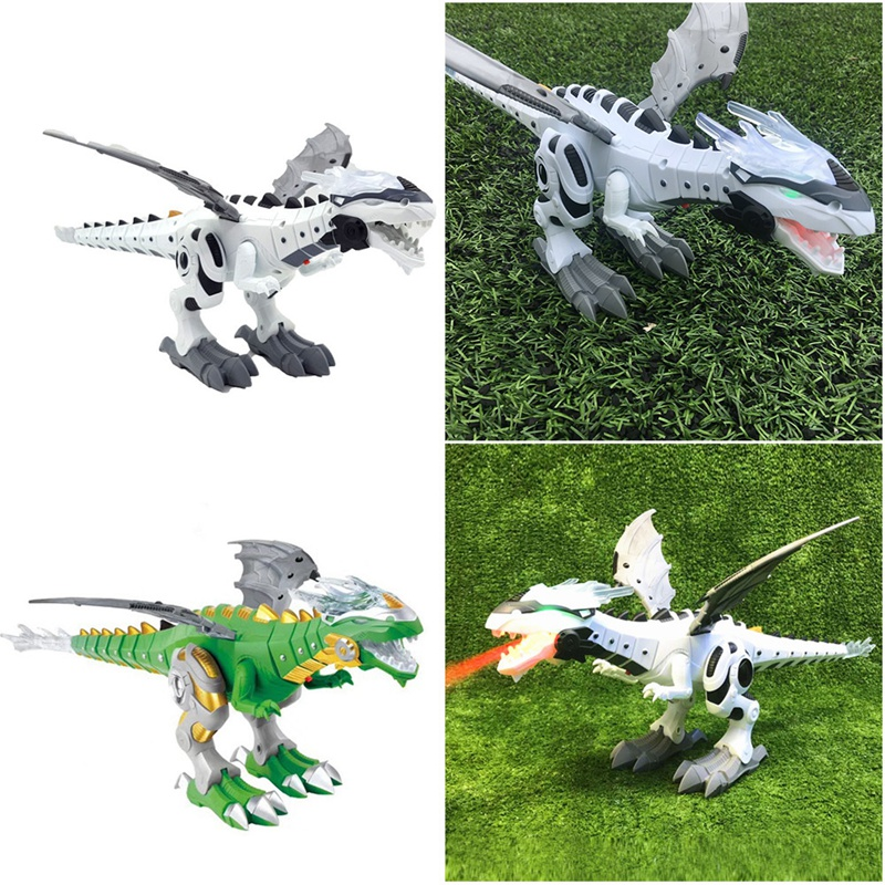 Electric Toy Large Size Dragon Toy Fire Breathing Water Spray And Photoacoustic Mechanical Dinosaur Model Toy For Children (Whit