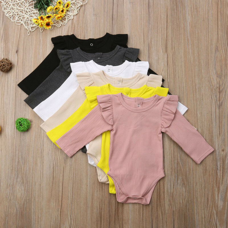 Pudcoco Newborn Body Baby Boys Girls Infant Autumn Winter Solid Color Ruffles Jumpsuit Bodysuit Clothes Kid Outfit Sets