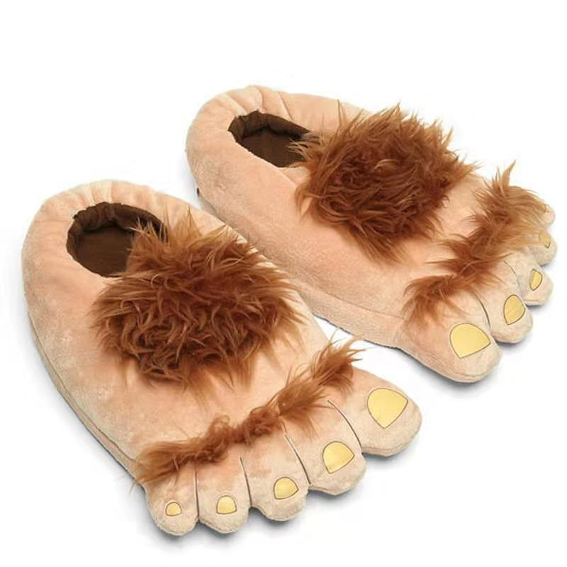 Creative Hobbit Plush Cotton Slippers Plus-sized Menswear Home Daily Use Gift Package Root Thick Bottomed New Style Warm Shoes