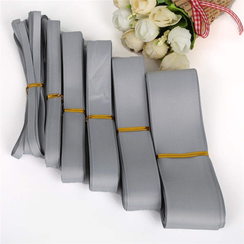 5 Yards 7/10/15/20/25/<font><b>38mm</b></font> Gray <font><b>Grosgrain</b></font> <font><b>Ribbons</b></font> Packing Material DIY Crafts Decor Wedding Party Decoration Gift Wrapping image