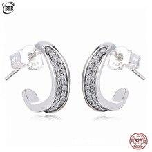 цена на Women 925 Sterling Silver Shiny CZ Earrings Micro Pave Zircon Elegant Wave Stud Earrings for Birthday Day Gift Female Jewelry