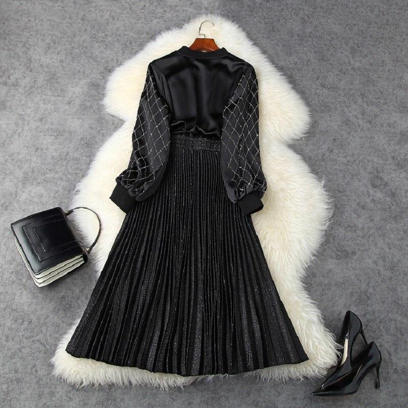 Printemps 2020 nouvelle qualité supérieure haute rue tenue décontractée femmes célébrités plissé lumineux robes de fête perceuse chaude robe à glissière