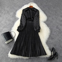 Spring 2020 new Superior quality High street casual dress women Celebrities Pleated bright Party dresses Hot drill zipper Dress