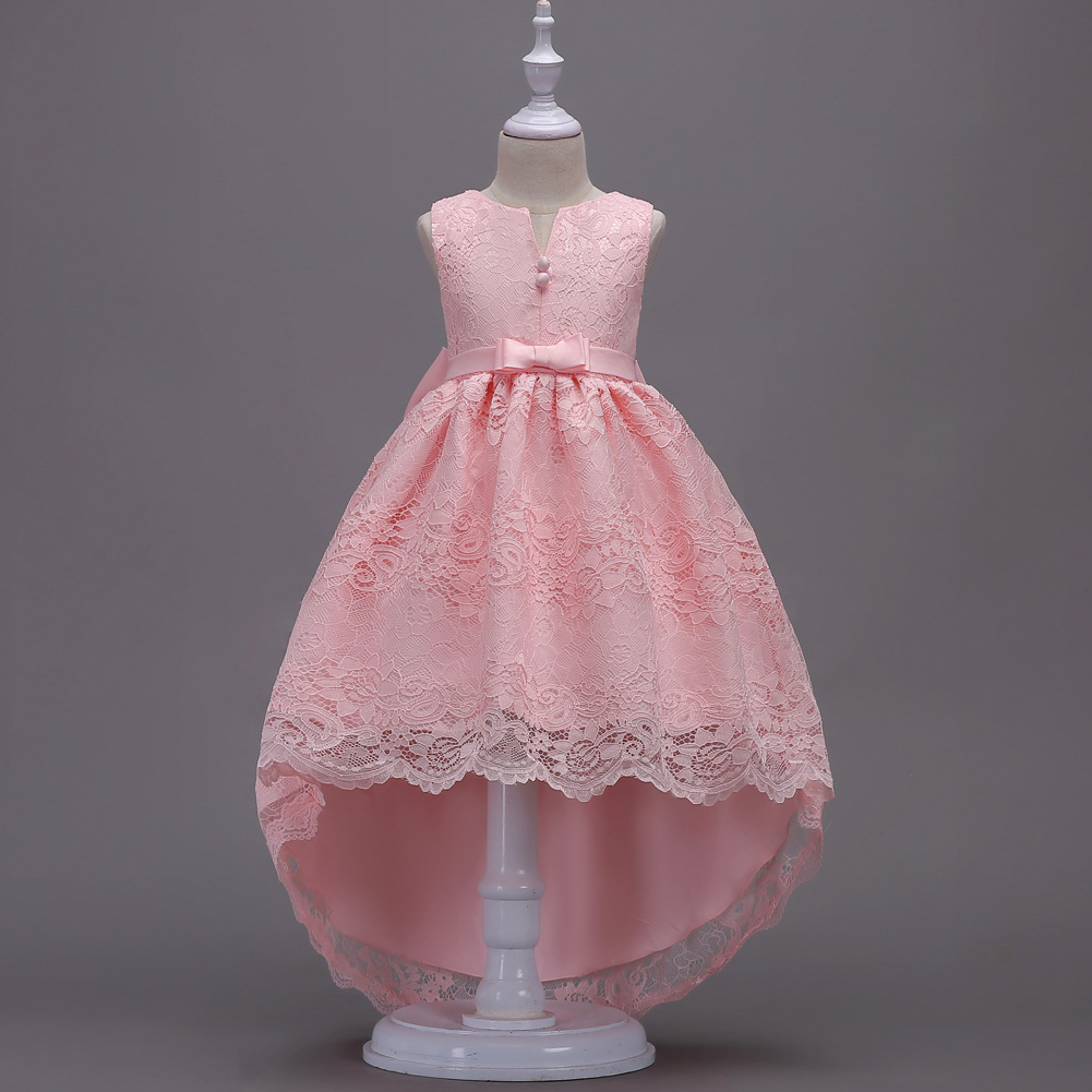 Children Wedding Dress Flower Boys/Flower Girls Princess Dress Middle And Large Girls Sleeveless Bow Lace Host Dress 139