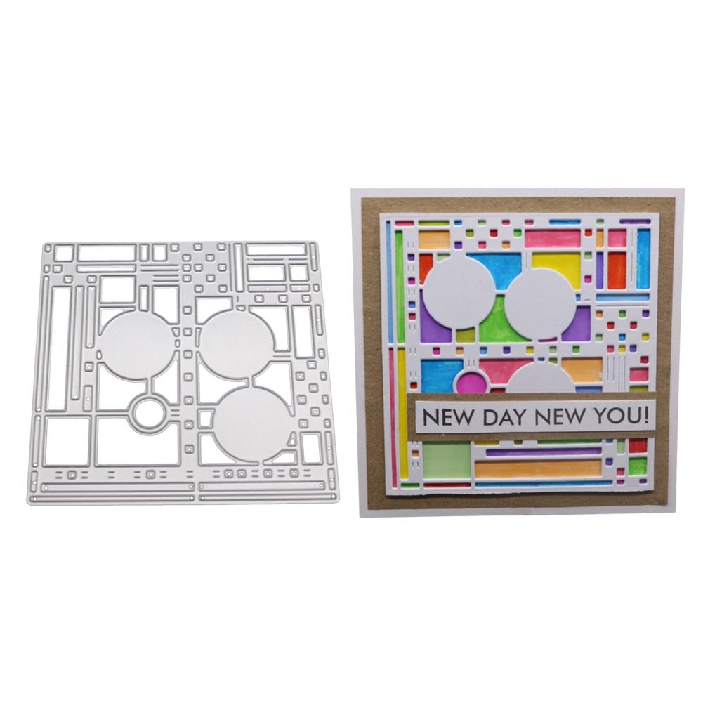 Geometric Rectangle Cutting Dies Stencil DIY Scrapbook Paper Cards Embossing