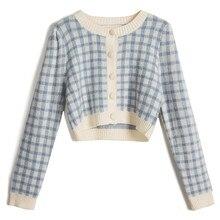 Cardigan court tricoté à carreaux pour femme, manteau tricoté, style rétro, taille haute, vêtements féminins, nouvelle collection hiver