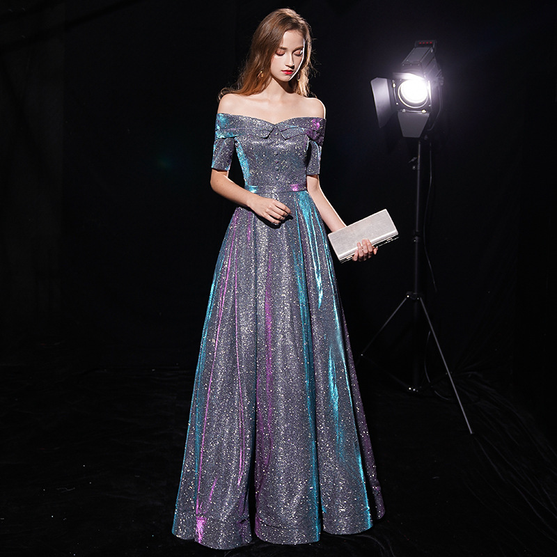 Annual General Meeting Evening Dress Women's 2019 New Style Score Off-Shoulder Explicit Thin Long Banquet Host Nobility Dress