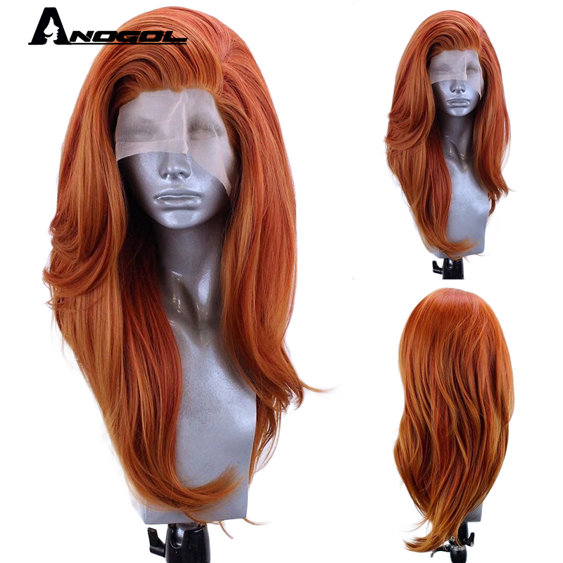 Anogol Free Part Long Natural Wave Heat Resistant Fiber Copper Red Synthetic Lace Front Wig Hair For Women