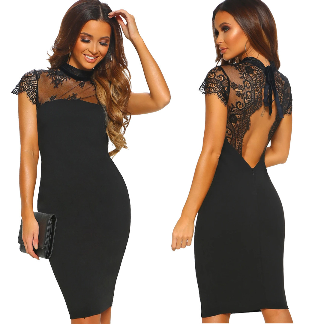 Summer Sexy Lace Lace See Through Back Cocktail Dress Knee Length For Cocktail Party Short Sleeve Elegant Woman Dress Vestidos