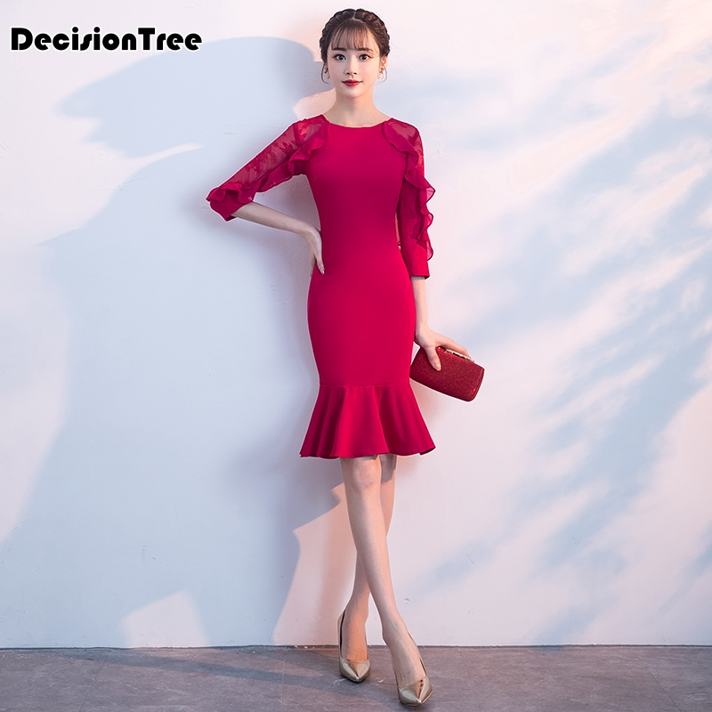 2020 Chinese Dress Qipao Dress Design Long Lace Up Sleeves Red Wedding Cheongsam Party Dresses Gown Fishtail Dress Cheongsam