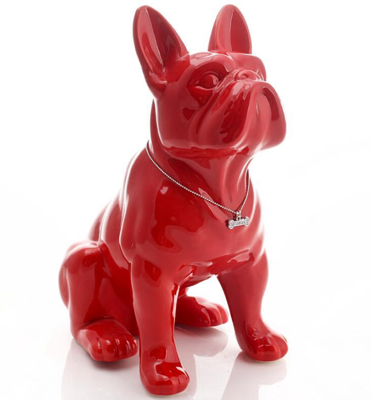 Керамическая статуя французского бульдога [MGT], украшение для дома, предметы для украшения комнаты, украшение для животных, статуэтка для са