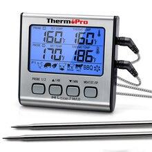 Цифровой термометр ThermoPro TP17 с ЖК подсветкой и двумя зондами для приготовления мяса на улице на гриле и с режимом таймера для копчения