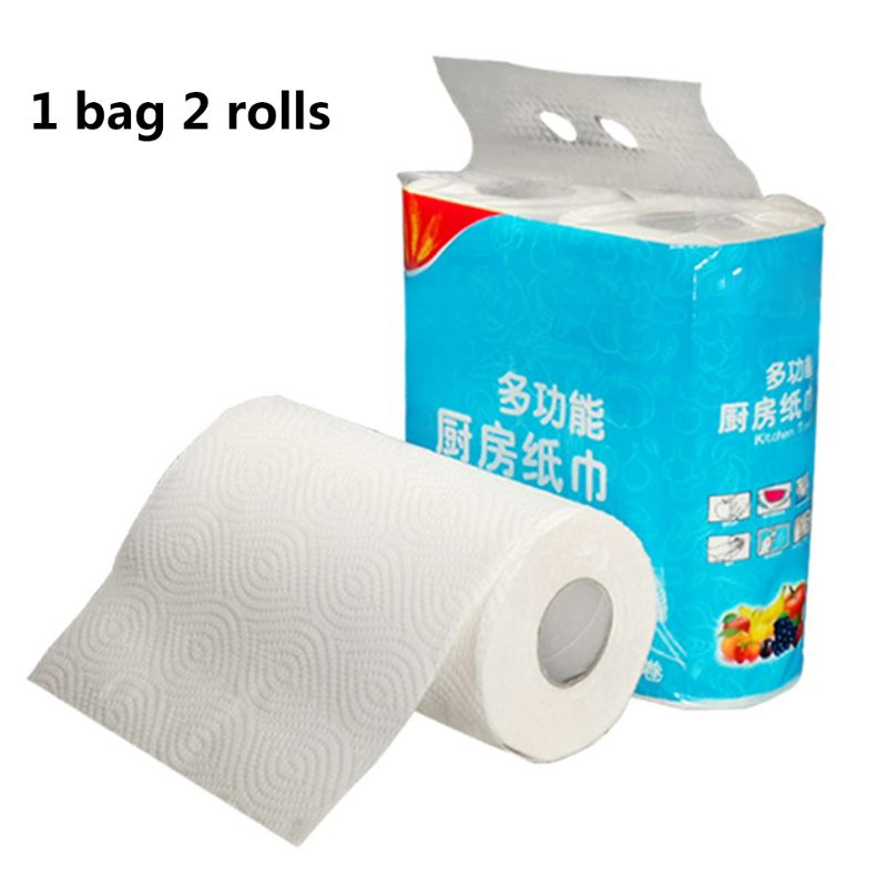 2 Rolls Cleaning Paper Kitchen Wipes Paper Tissues Embossed Thickened Large Hand X7YB