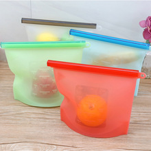 4PCS Silicone Food Storage Bag Reusable 1000ml /1500ml Vacuum Milk Fruit Meat Fresh Bags Organizer