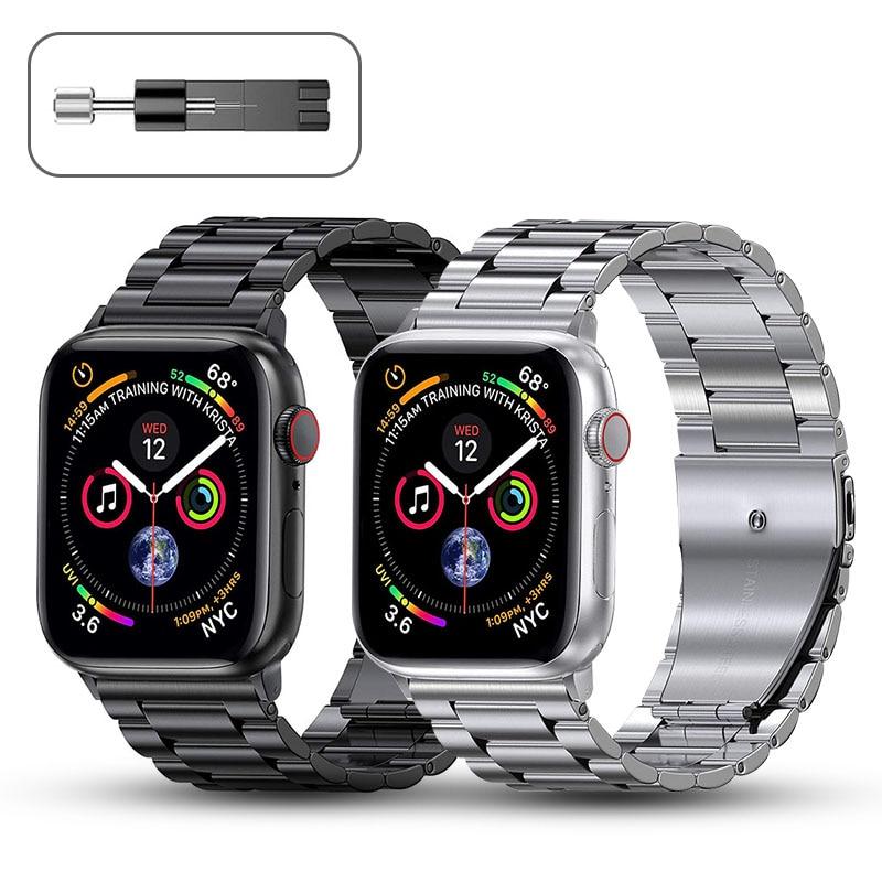 Cinturino in metallo per cinturino Apple Watch 44mm 42mm 40mm 38mm bracciale in acciaio inossidabile per iWatch 6 SE 5 4 3 2 1 accessori serie 1
