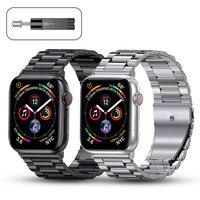 Correa de Metal para Apple Watch, pulsera de acero inoxidable de 44mm, 42mm, 40mm y 38mm para iWatch 6 SE 5 4 3 2 1 Series, accesorios