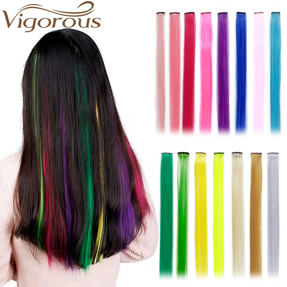 Vigorous 1 Clip In Hair Extensions Pure Color 20 Inch Synthetic Long Straight Grey  Red Hair Extensions Heat Resistant