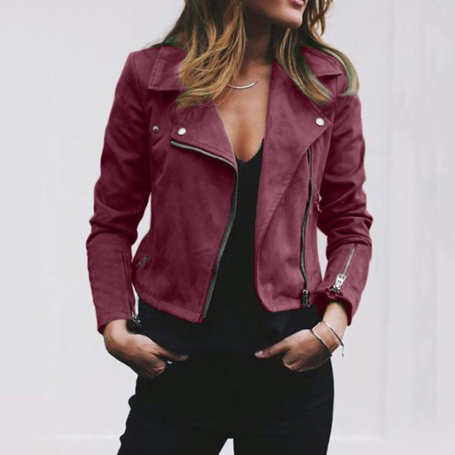 long sleeve Lapel zipper Short Jacket 3