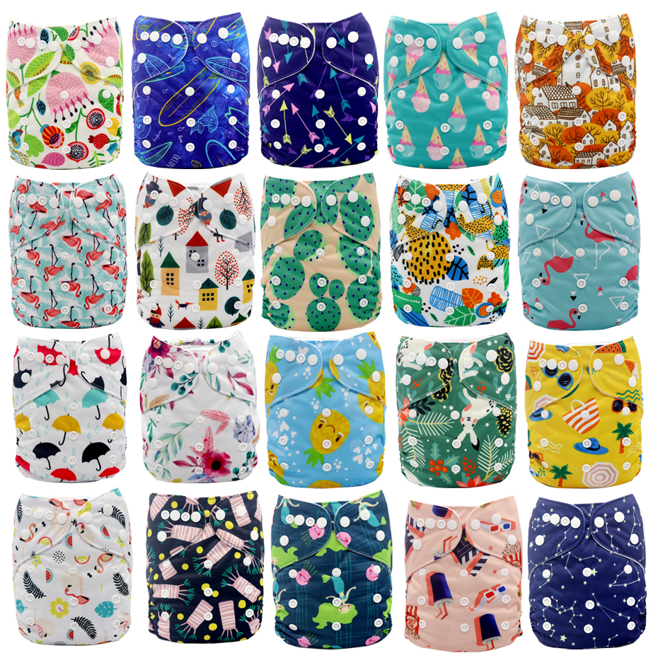 MABOJ Diaper Cloth Diapers Baby Reusable Washable Pocket Nappy Cover Waterproof Digital Printed Adjustable Nappies Fit 3-15kg