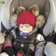 Infant Hat Winter Baby Baby-Boy-Girl Beanie-Hat Fur-Ball-Cap Double-Pompom-Hats Knit