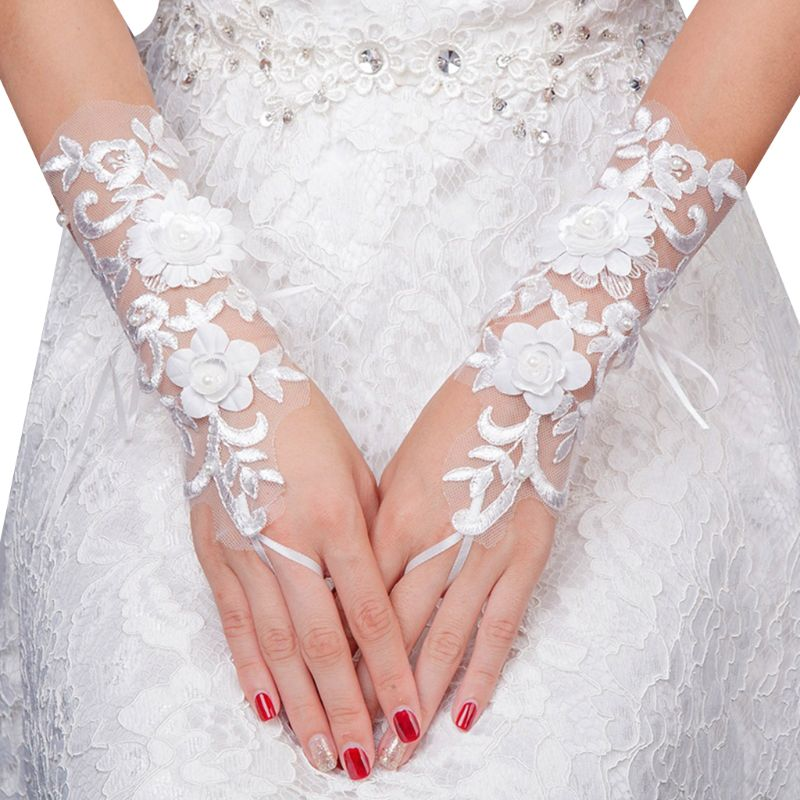 Wedding Bride Embroidery Lace Short Gloves Flower Faux Pearl Sunscreen Mittens