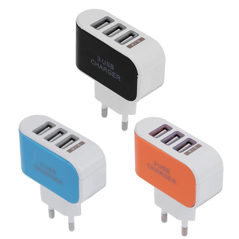 EU Plug Adaptors LED USB Charger Electrical Socket Mobile Phone Multi-Head Chargers 2A ABS Multi-Port Travel Charger 3 Colors