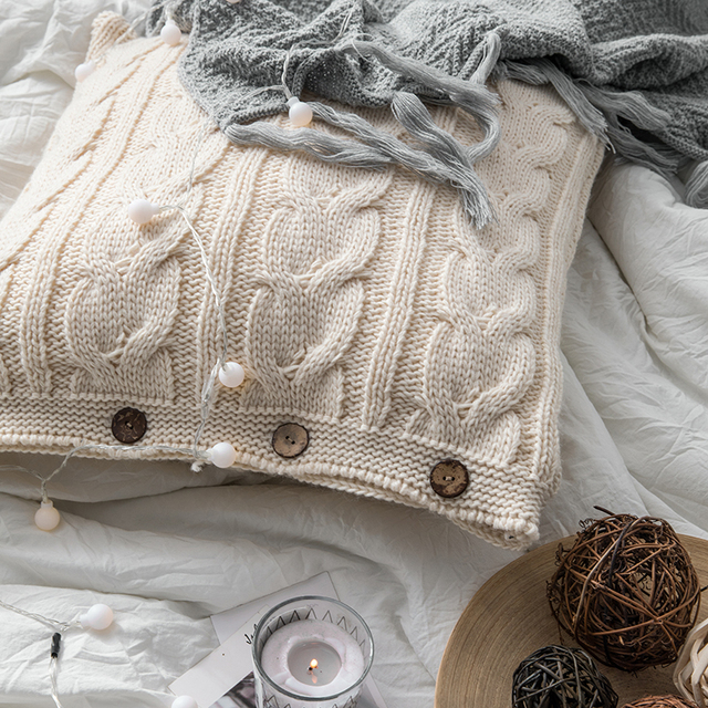 Cream Nordic Knitted Cushion Covers 6
