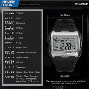 Image 5 - SYNOKE Fashion Mens Square Digital Watch Luminous Outdoor Sports Waterproof Man Watch LED Display Multifunctional Wristwatch