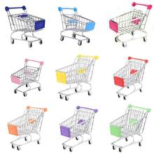 Pretend Play Metal Mini Shopping Cart Supermarket Handcart Storage Trolley Toy Office Decor Wonderful Gift For Children(China)
