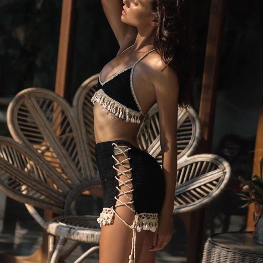 Conjunto de Bikini de 3 uds para mujer, Top de Bikini de Crochet con borla de concha, falda para la playa de encaje transparente, minifalda delgada y collar de conchas marinas