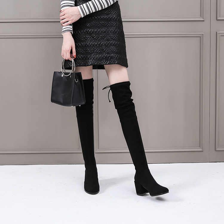 Cao Cấp 2019 Cùng Overknee Giày Thun Dày Giày Với Người Phụ Nữ Giày