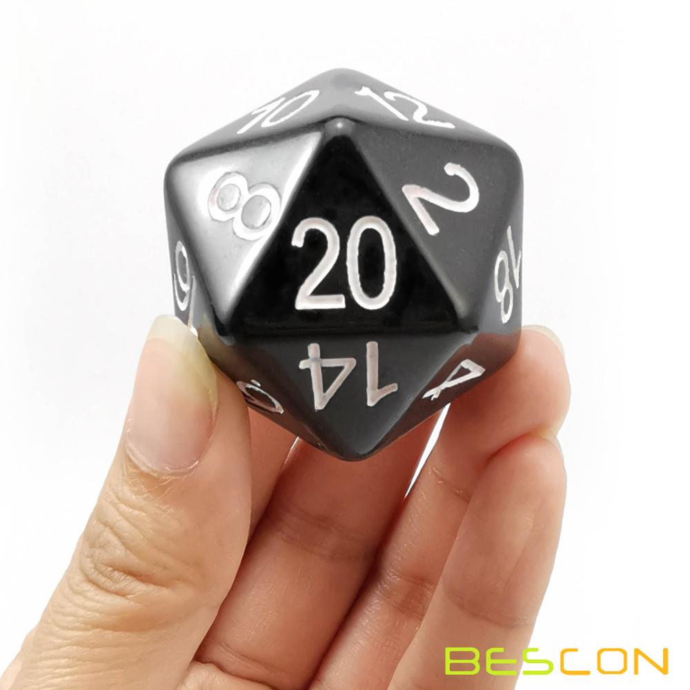 Bescon Jumbo Glowing D20 38MM, Big Size 20 Sides Dice 1.5 inch, Big 20 Faces Cube in Various Solid, Glitter, Glowing Colors 11