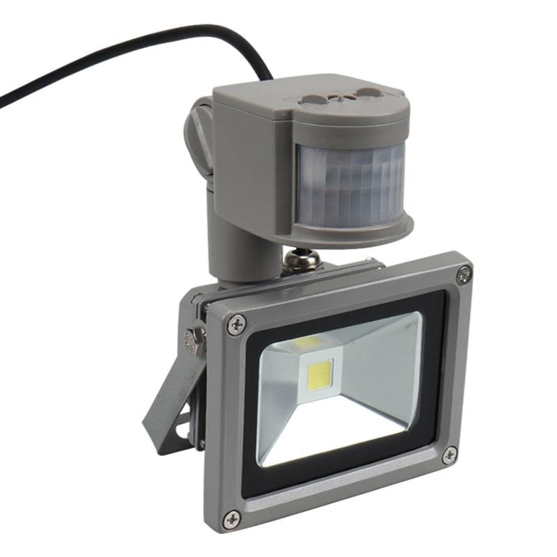 Kung Free Shipping 12V 10W Input PIR LED Flood Light For Solar System Garage For Security With Motion Sensor Time Lux Adjust