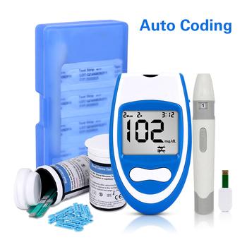 Bezpieczny inteligentny glukometr mgdL z butelkowanymi paski testowe i lancety GLM-79 glukometr medyczny do dokładnego testu cukru we krwi tanie i dobre opinie Blood Glucose Tester Medical PVC Glukozy we krwi 3050100401 8 Seconds 1 1-33 3mmol L Automatic calibration 180 test results