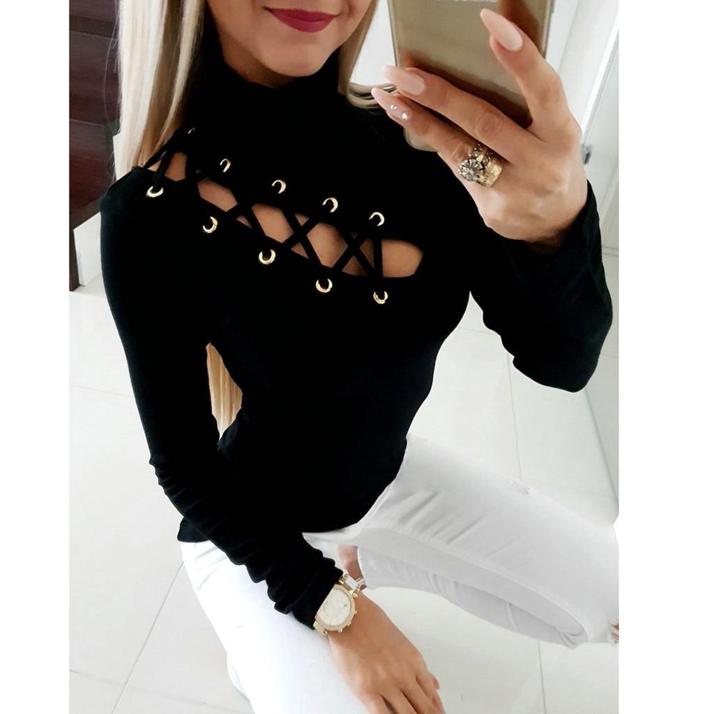 Feitong di Modo Camicetta Delle Donne 2019 Sexy di Inverno di Autunno di Alta Collare Solid Hollow Out Che Perde Skinny Blusa Feminina рубашка женская