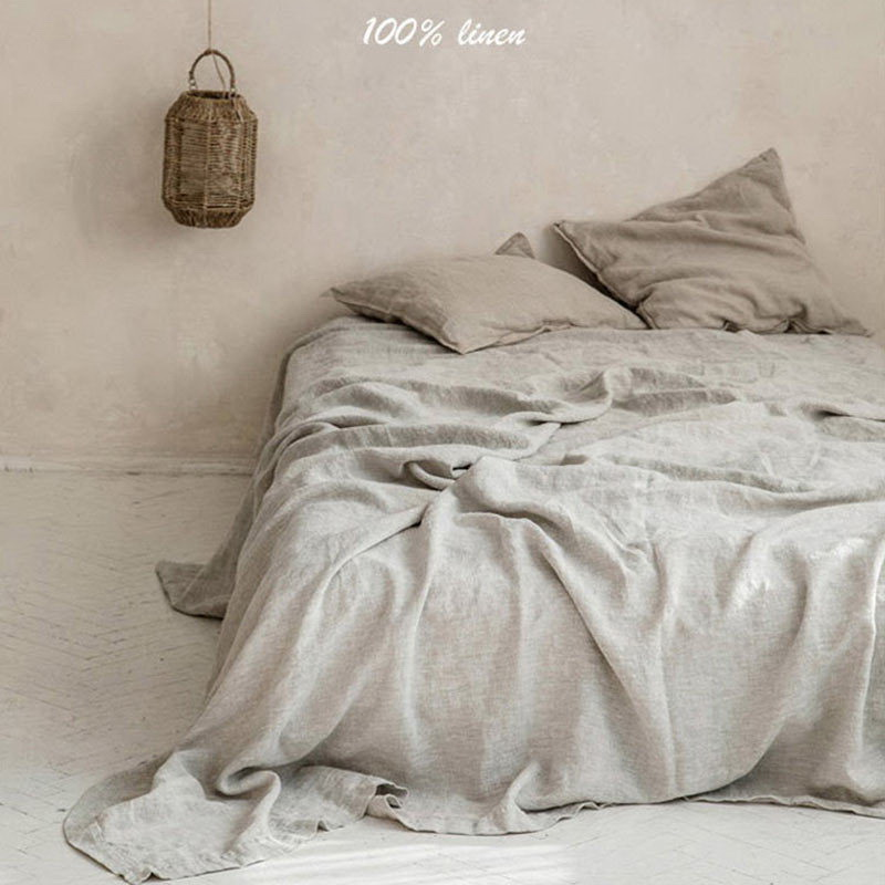 100% Washed Linen Sheet Set Natural France Flax Bed Sheet Breatherable Ultra Soft Farmhouse Bedding (1 Flat Shee 2 Pillowcases)