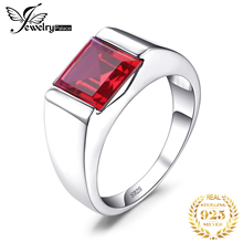 Feelcolor New Wholesale Promotion Man Pigeon Blood Ruby 3.4ct Ring Square Cut 925 Solid Sterling Sliver Wedding Jewelry