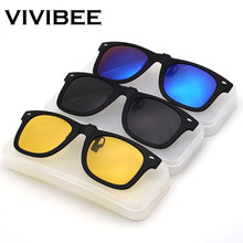 Vivibee flip up clip em óculos de sol para homens óculos de condução clipes de luz de pesca feminino anti-uva uvb polarizada lente de visão noturna