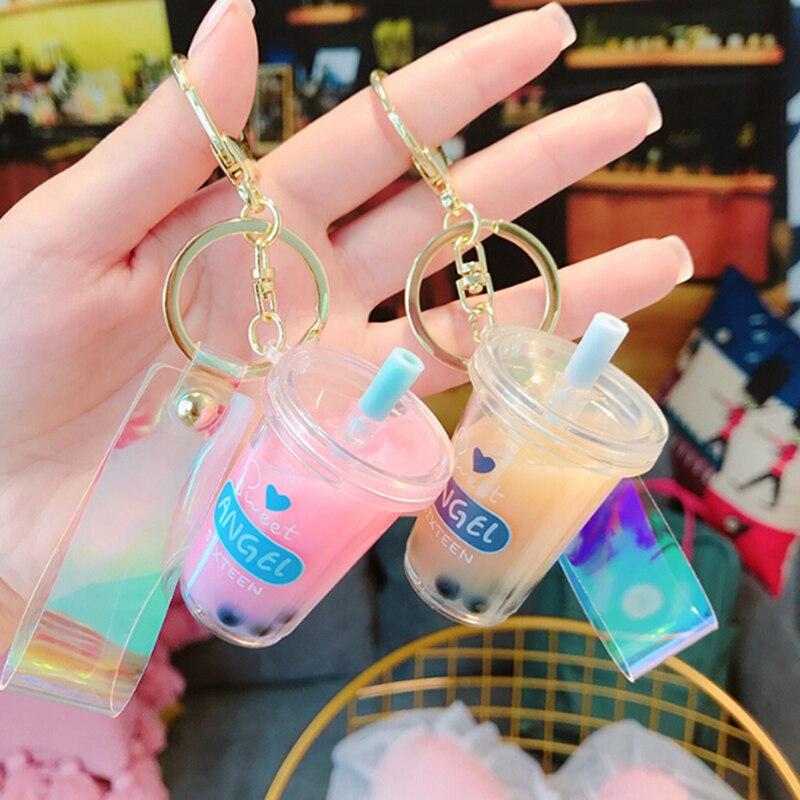 Creative Mini Soft Drink Keychain Decompression Jewelry Gift Coconut Milk Tea Beverage Bubble Tea Acrylic Moving Liquid Oil Drop