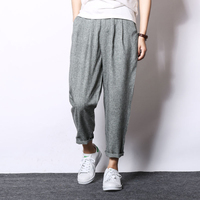 2019 Sinicism Fashion Men Linen Harem Pants Sweatpants  Baggy Cross Pants Summer Male Loose Elastic Waist Trouser S-XXXL