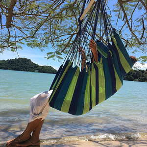 Image 1 - Hammock Chair Hanging Chair Swinging Indoor Outdoor Furniture Hammocks Canvas Dormitory Swing With 2 Pillows Hammock Camping