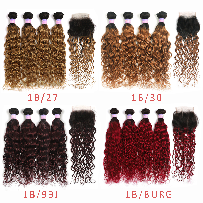 Water Wave Human Hair Bundles With Closure Brazilian Ombre Hair Weave Bundles With Closure Non-Remy Extension 4 PCS KEMY HAIR