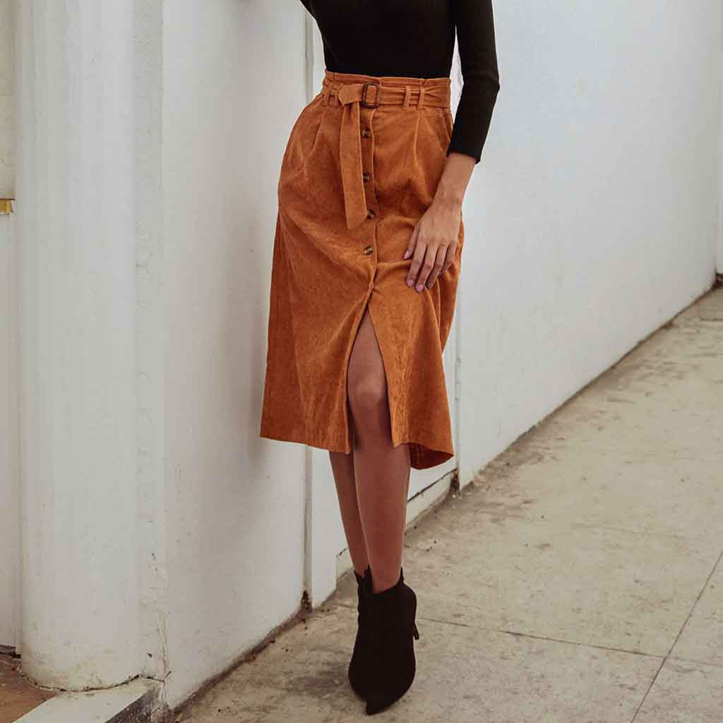 Women's Corduroy Skirts High Waist Button Sashes Skirt Autumn Spring Knee- Length Skirts Solid Color Open Split Skirt##5