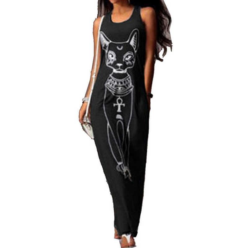 2018 vestido de verano para Mujer Sexy para fiesta de noche vestido ajustado Vestidos Largos Maxi vestido Casual estampado de gato Boho playa Largos Mujer XXXL