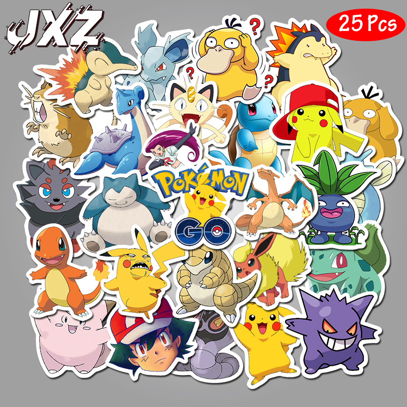 25Pcs/pack Pokemons Movie Stickers DIY Waterproof Cartoon Sticker For Luggage Skateboard Phone Laptop Moto Bicycle