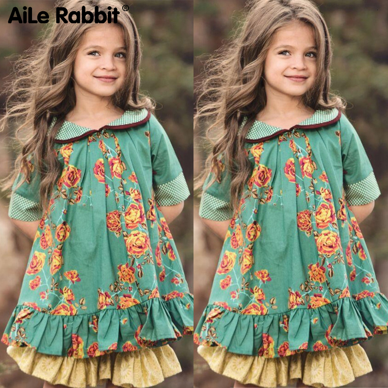 2019 Girls Fashion Floral Dress British Style INS Popular Children's Clothing For 3-12 Year Old Girls Boutique Brand Apparel