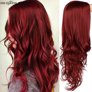Image 1 - AISI QUEENS Long Wavy Synthetic Wig Red Wig for Women Cosplay Black Pink Wigs Partial Division Natural High Temperature Fiber